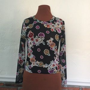 Black Floral Sheer Semi Crop Long Sleeve Top